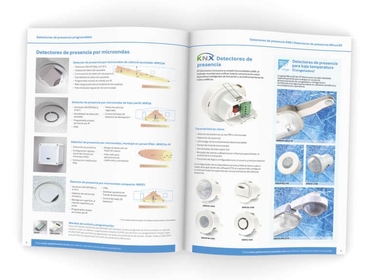 CP Electronics International brochure design and translation in Spanish