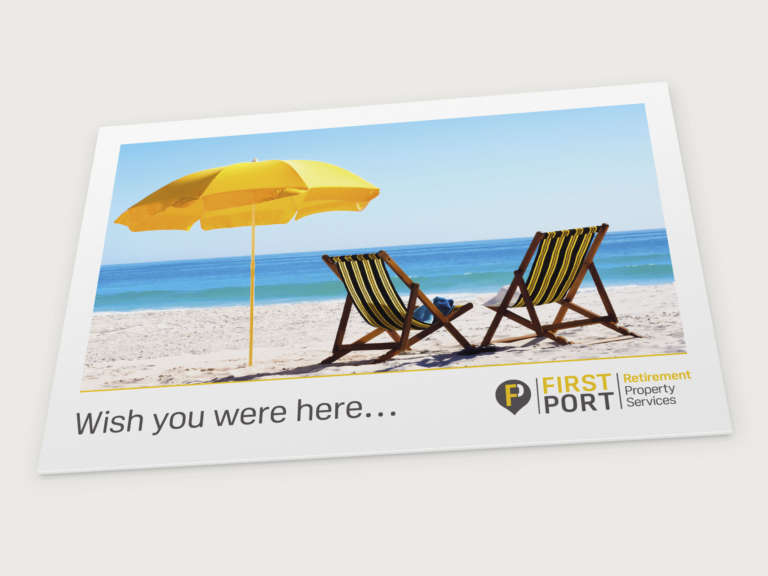 Postcard design for FirstPort Retirement Services