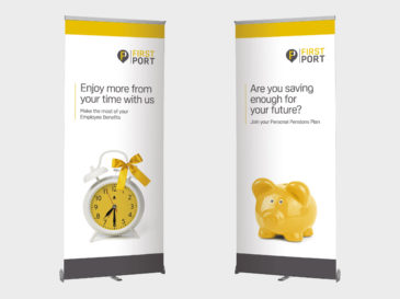 Roller banner design for FirstPort